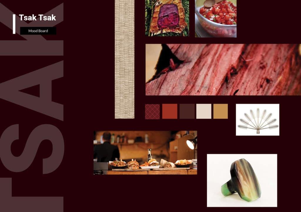 Mood Board, univers graphique Tsak Tsak , couleurs, teintes, visuelles, identité, branding