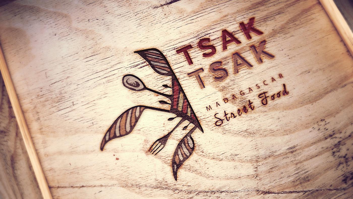 Logo Tsak Tsak Bois, incrustation ,traiteur, univers visuel, logotype,