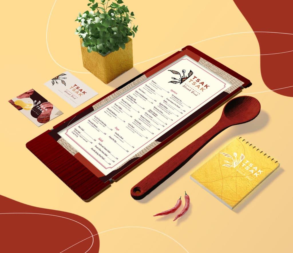 Branding, Tsak Tsak Madagascar Street Food Alizée Laurence graphisme, design, papeterie, menu