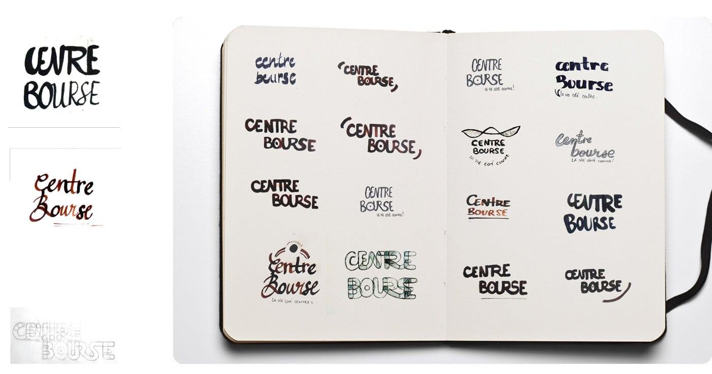 Centre Bourses, recherches, logos, croquis, stylo, encre, design logotypes,