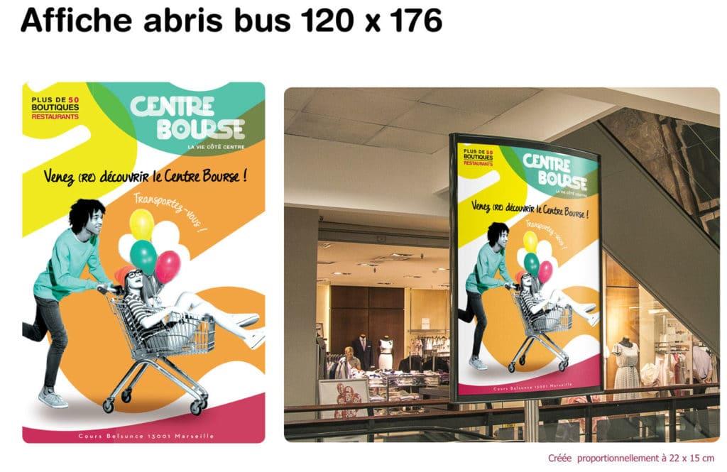 Affiche Abris bus, design, designer , graphiste, graphic design , graphisme, presse affiche , centre bourse projet