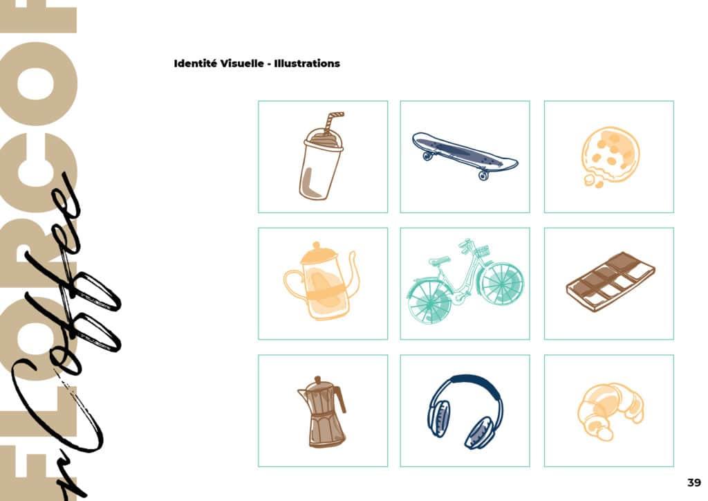 Illustrations charte graphique Flor Coffee Projet Graphique - Alizée Laurence