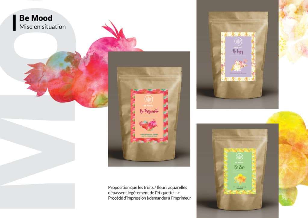 charte graphique, be mood, produits infusions, graphisme, branding, packaging, Alizée Laurence