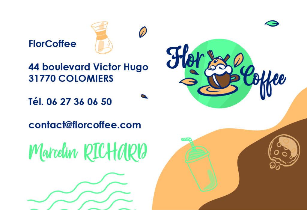 Carte de visites, flor coffee, business card, branding, logo, identité visuelle