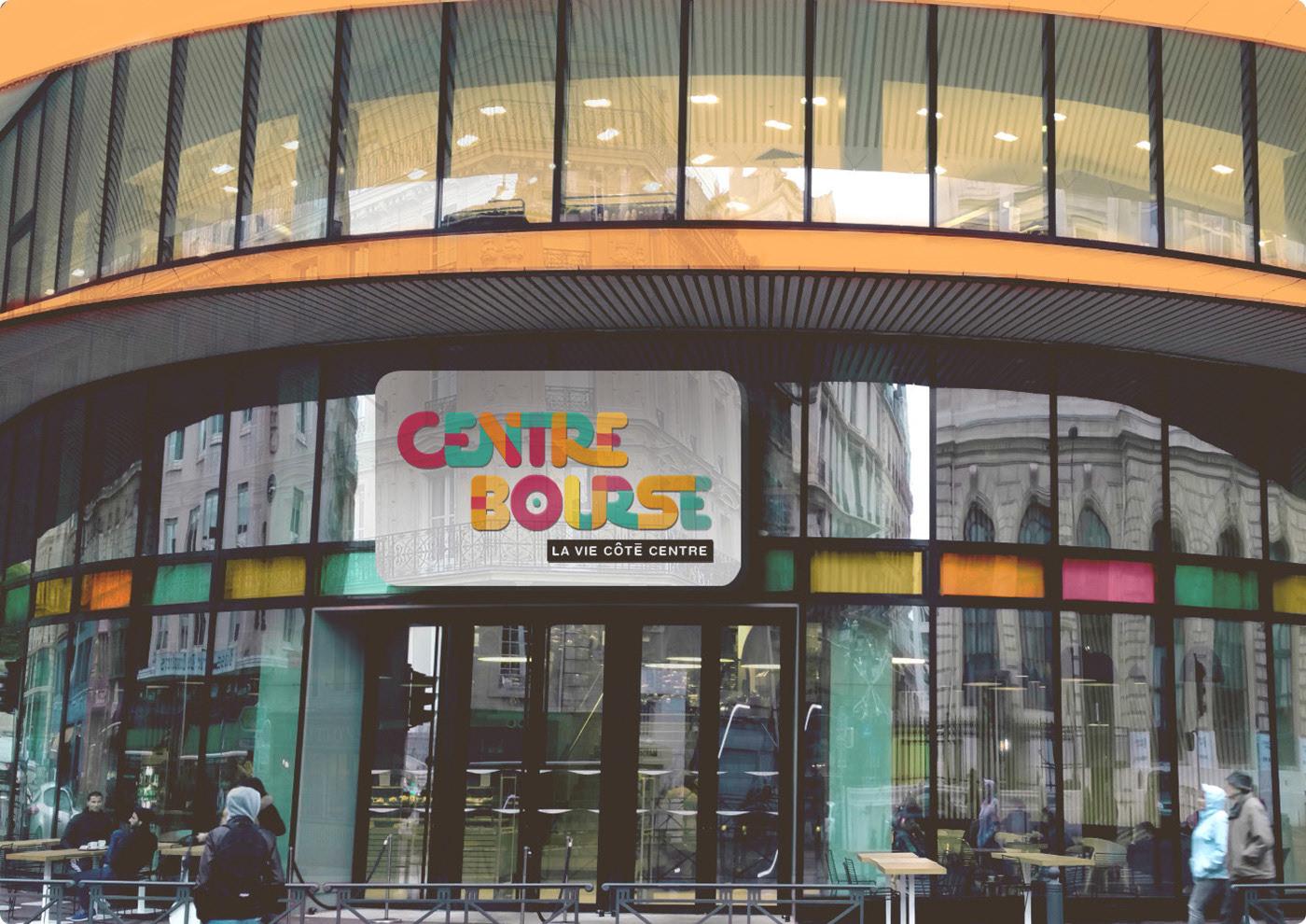 Façade Centre Bourse, Mise en situation, projet centre commercial, appel d'offre, couleurs, branding