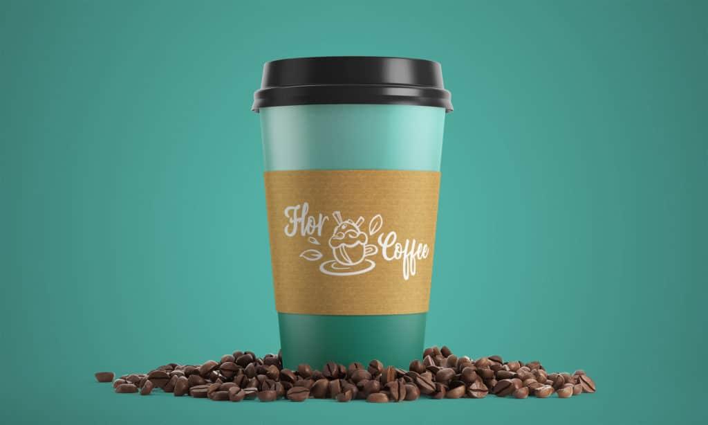 White cup flor coffee logo, branding, identité visuelle