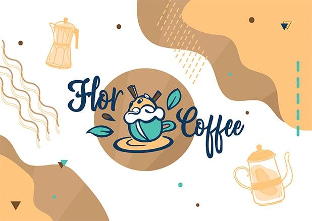 Le logo Flor Coffee charte graphique, illustration