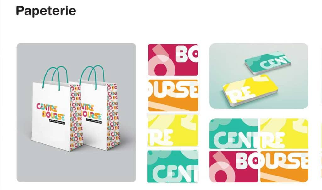 Papeterie, Centre Bourse, Branding, Carte de visites, Couleurs, Commerce