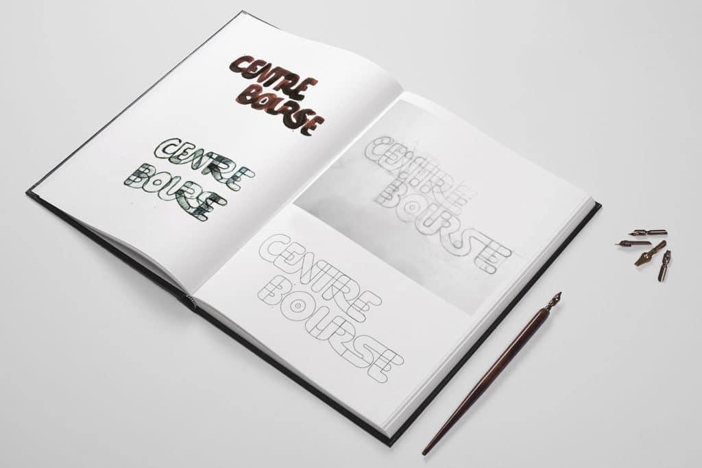 Croquis, Centre Bourse, Encre, Recherches visuelles , branding, design, concepteur designer, graphique, graphime, projet d'étude