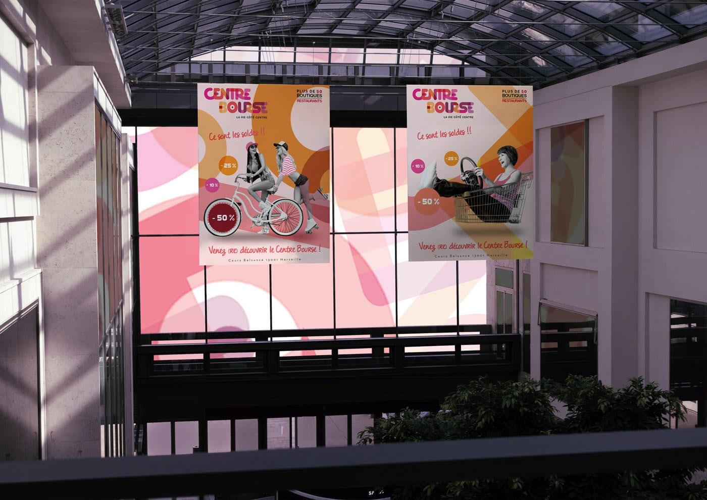 Affiche centre bourse, signalétique, Soldes, Recherches visuels, campagne de communication