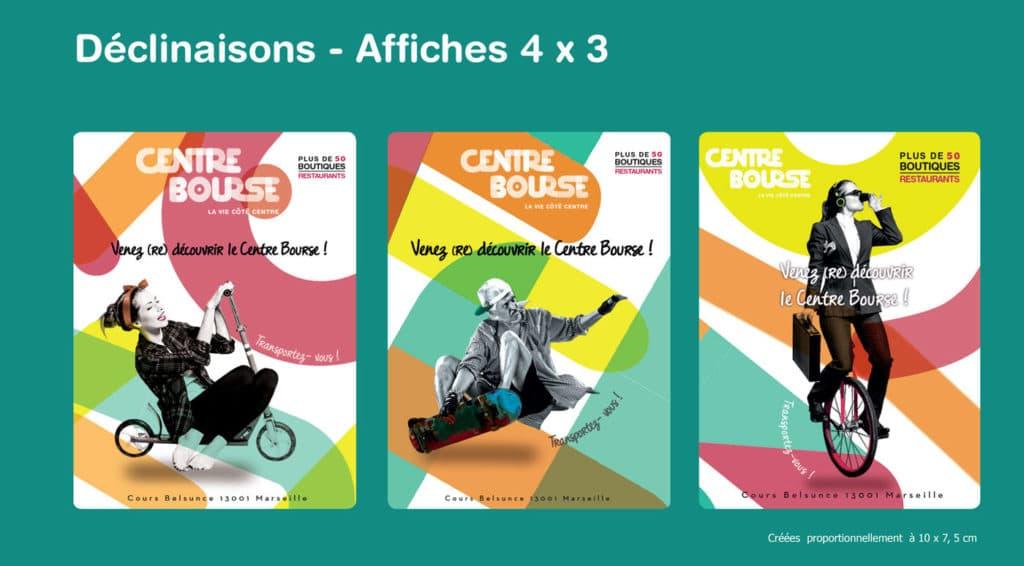 Affriche 4x3, Annonces Presses, Déclinaisons, Centre Commercial, couleurs, palette, formes, patterns, campagne visuelle, visuels, design
