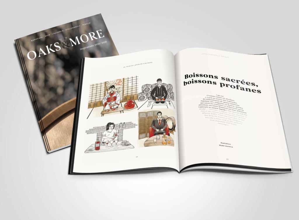 Magazine Demptos, illustrations, vins, saké, boissons, graphisme, design