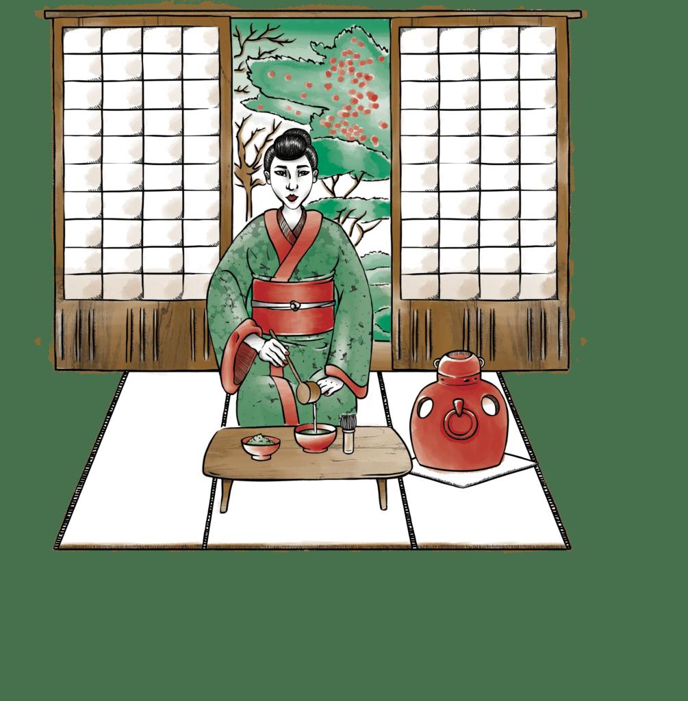 Matcha Situation cérémonie du thé, illustration, Alizée Laurence Illustratrice