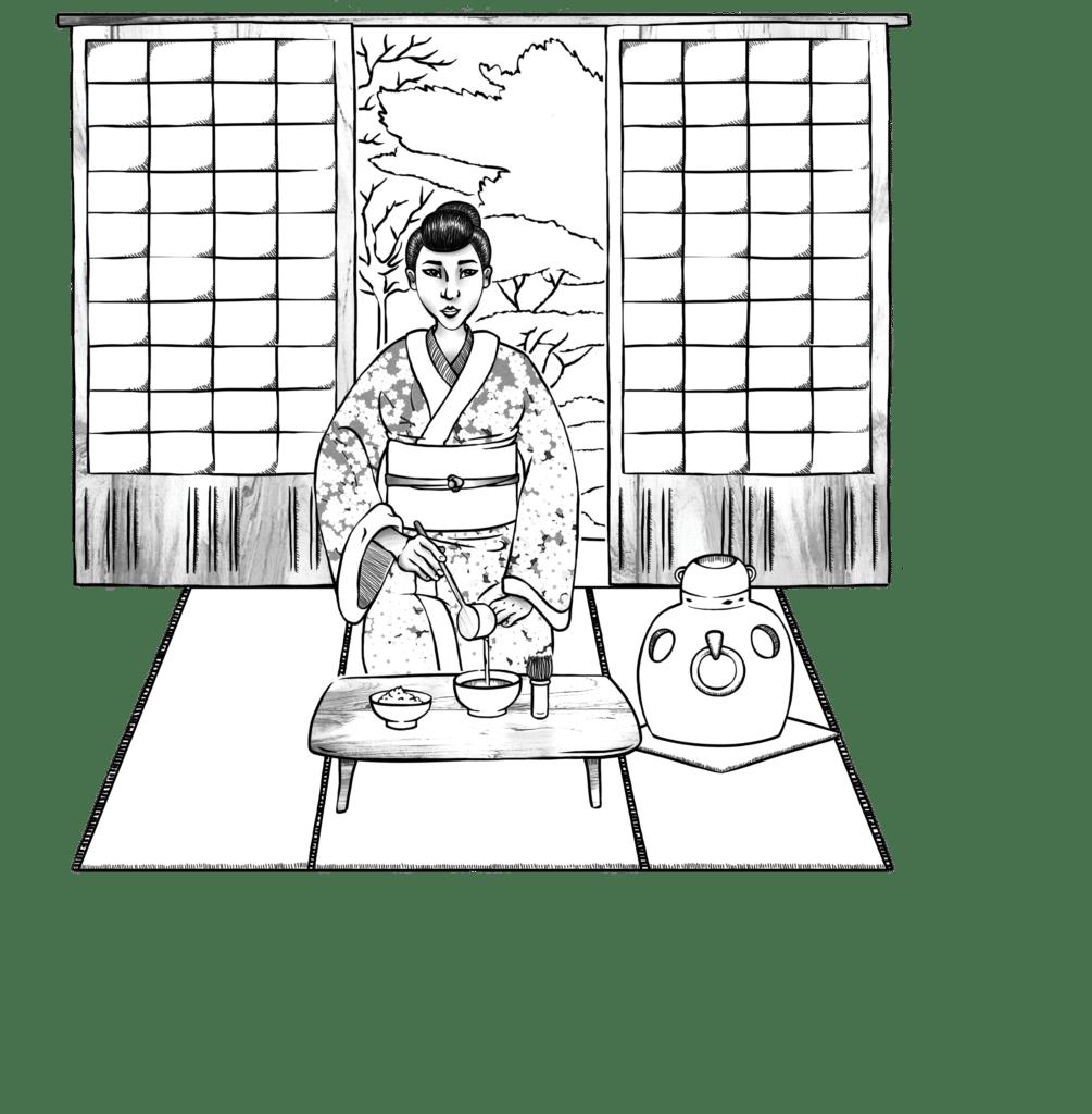Illustration Noir et Blanc, Illustratrice Alizée Laurence Cérémonie du Thé, Mise en situation