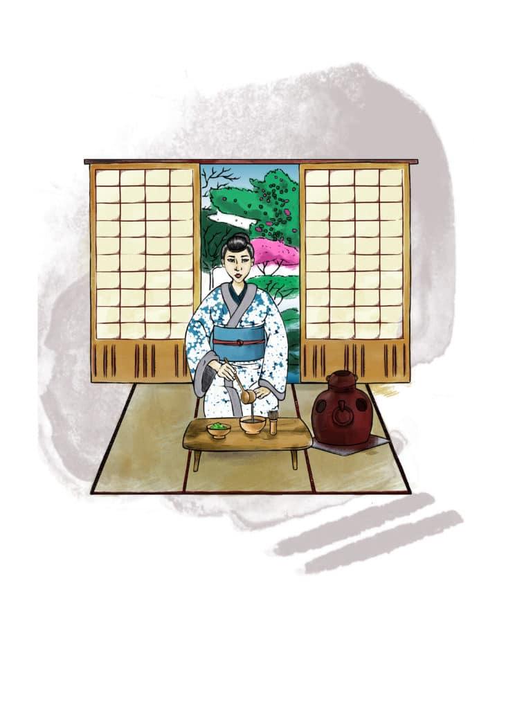 Illustration Digitale, Illustratrice Alizée Laurence Cérémonie du Thé, Mise en situation