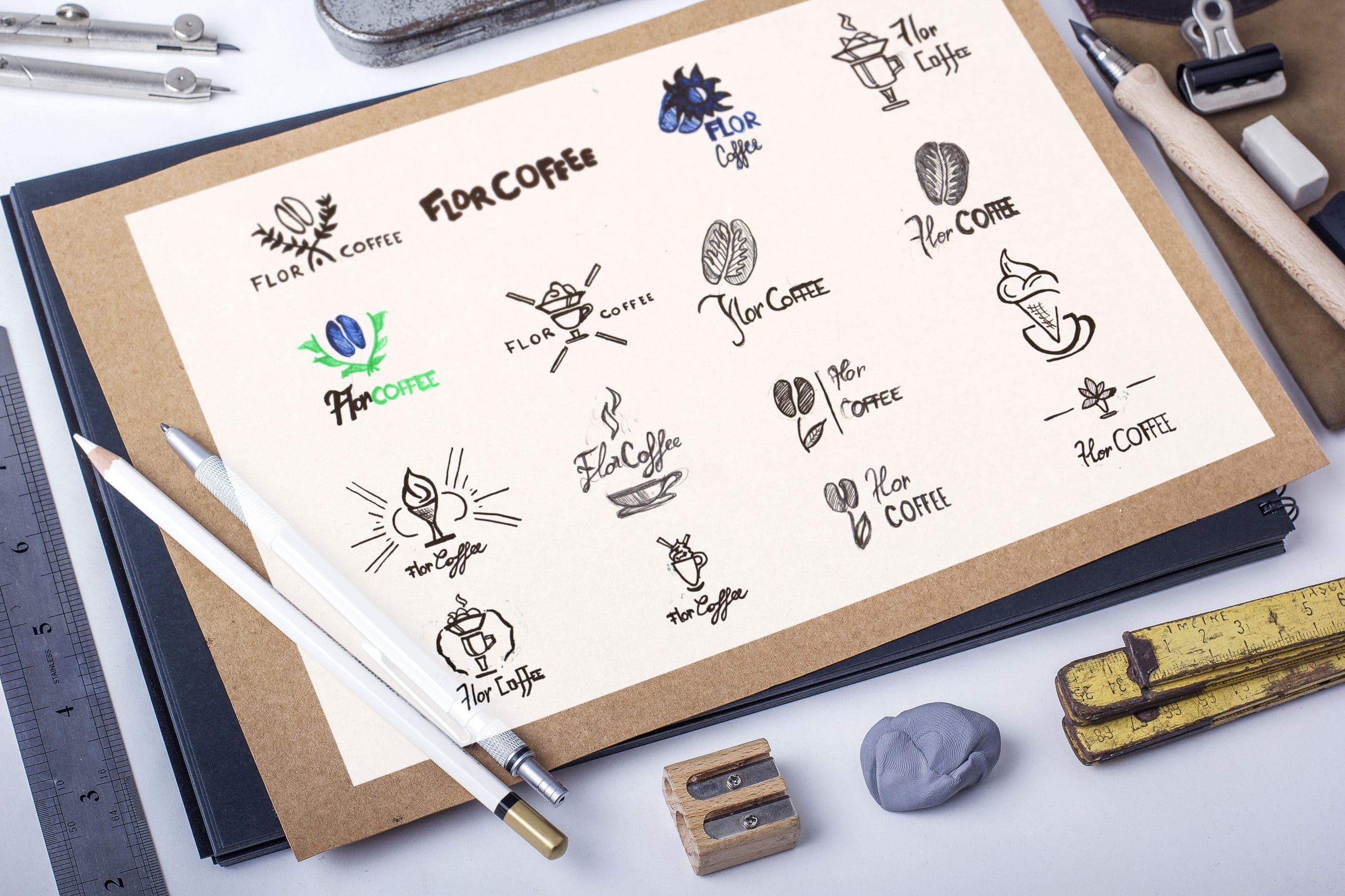 Croquis Stketches flor Coffee, logo, recherches visuelles,