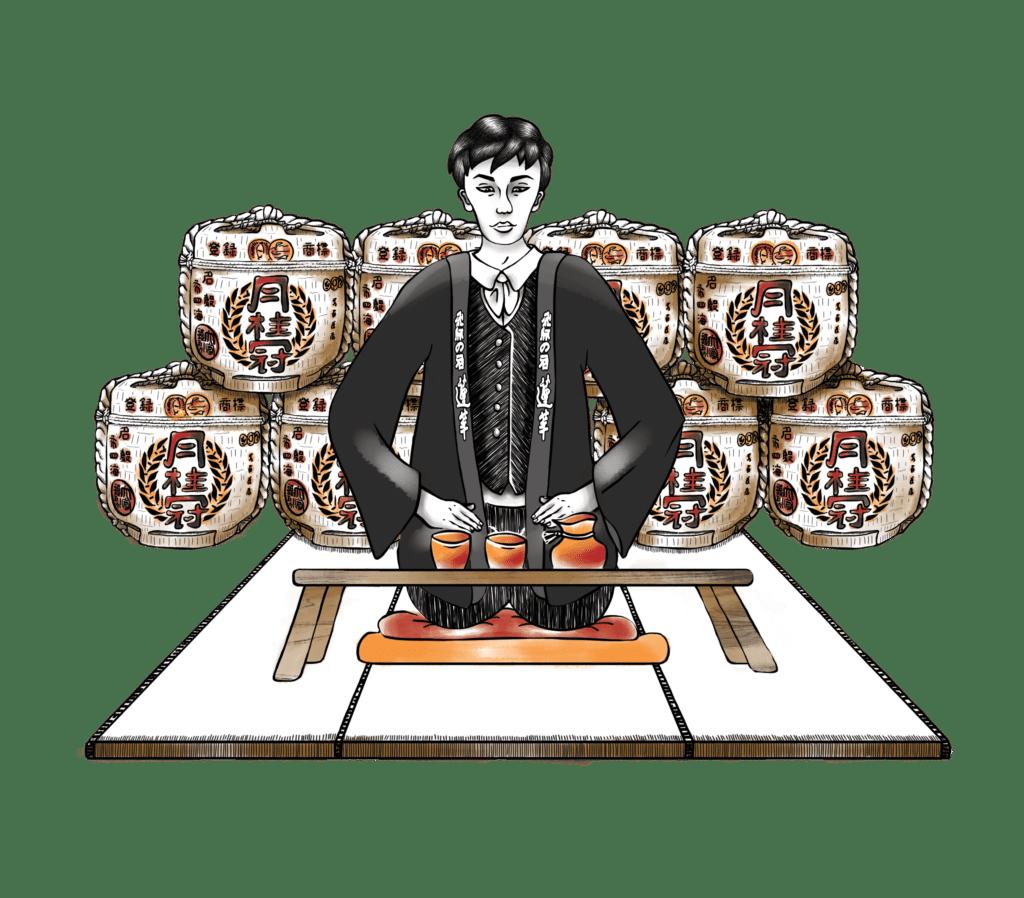 Illustration Saké Mise en situation,Boisson japonaise, Alizée Laurence Illustration