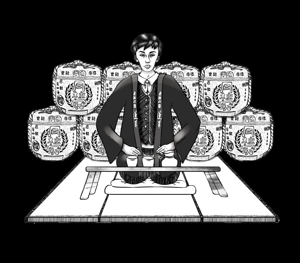 Saké, mise en situation, illustration Noir et Blanc, Boisson Japonaise, Illustratrice Alizée Laurence