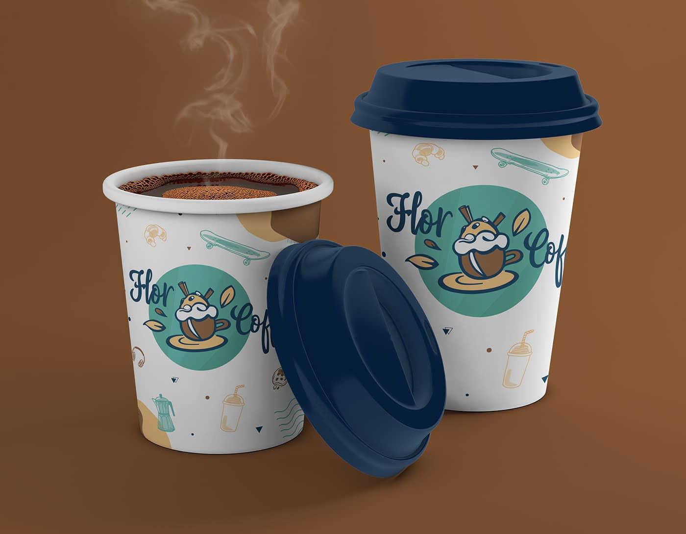 Flor Coffee, branding, tasse, image , produit, illustrations, identité visuelle, graphique