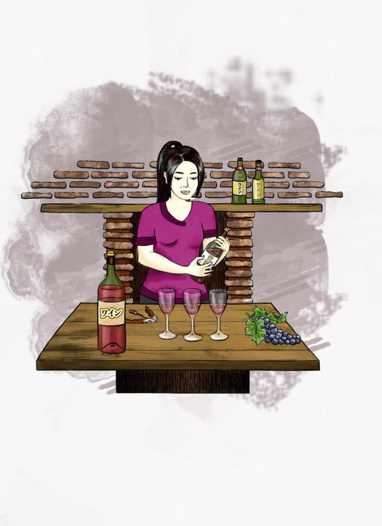 Illustration Alizée Laurence, Vin Rouge, mise en situation, japon, grappe de raisin