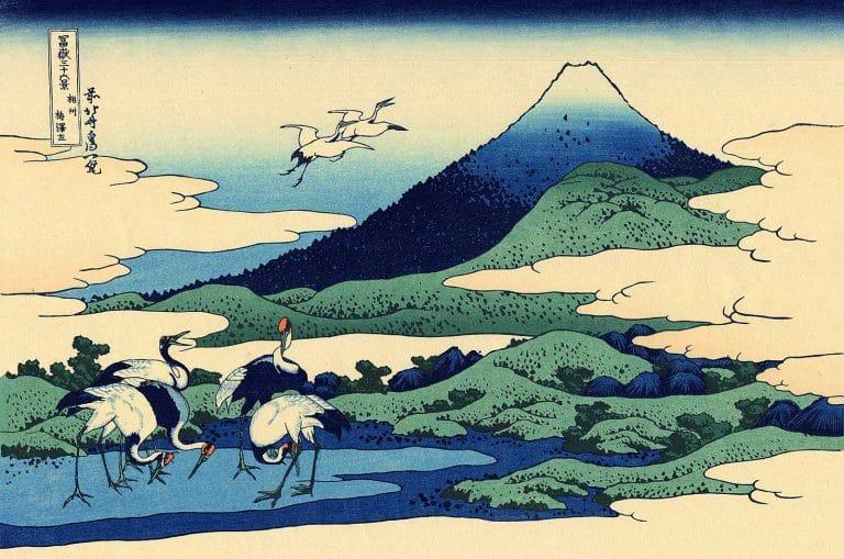 Estampes Japonaises, illustrations bleues, dessins aplats graphiques