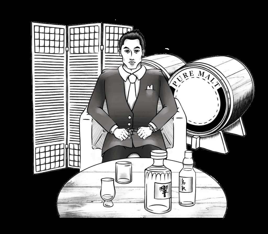 Illustration Noir et Blanc Whisky, Illustratrice Alizée Laurence, Japon, Boisson Japonaise