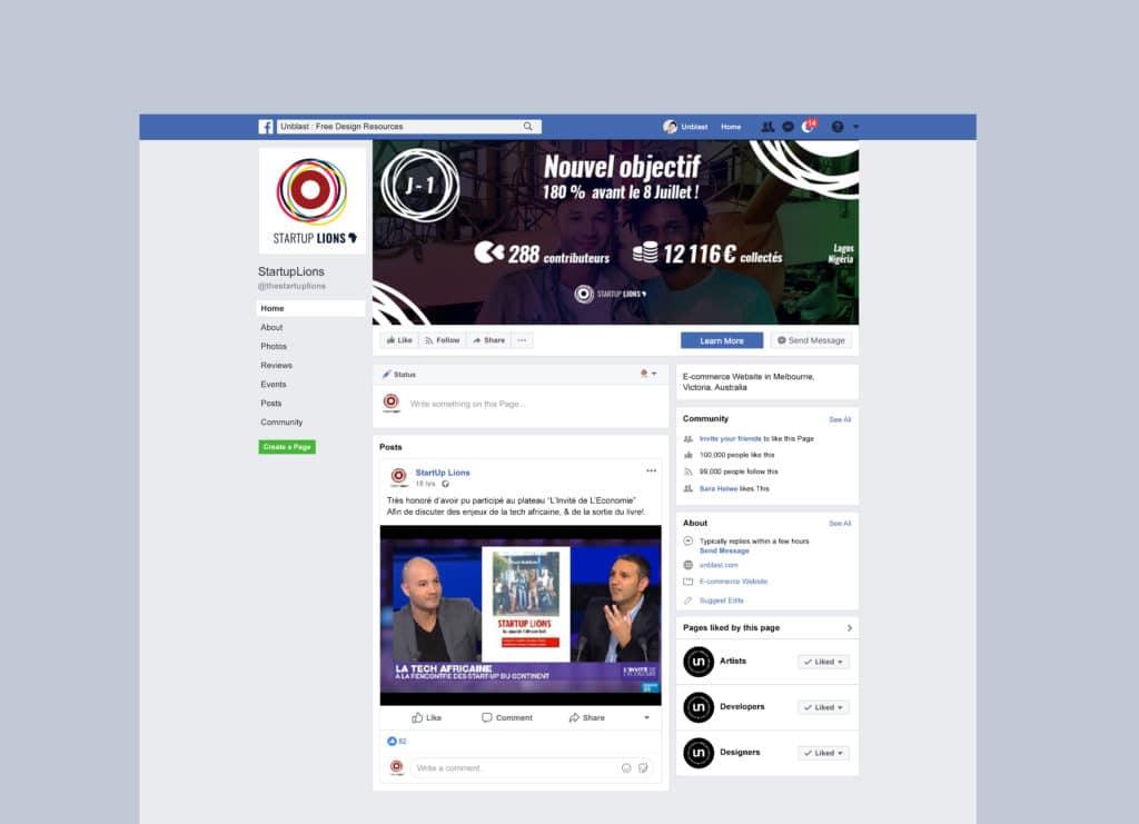 Bannière Crowndfunding projet Start Up Lions Facebook -Alizée Laurence