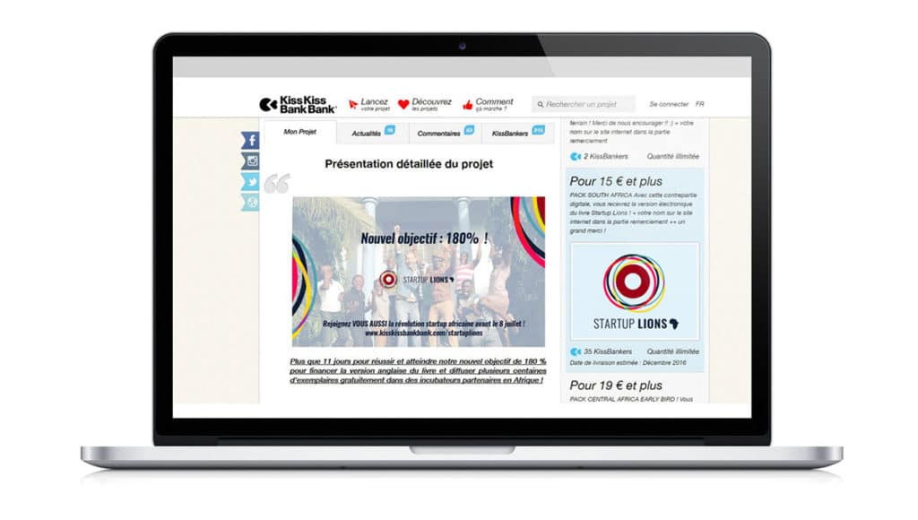 Campagne de crowdfunding mock up Start Up lions Alizée Laurence - Graphisme